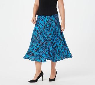 Bob Mackie Painterly Leopard Print Pull-On Maxi Skirt
