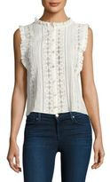 Rebecca Taylor Pleated Voile & Lace Top