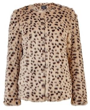 Dorothy Perkins Womens Brown Animal Short Faux Fur Jacket, Brown