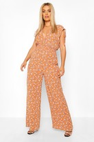 boohoo Plus Floral Shired Tie Detail Wide Leg Jumpsuit