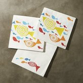Crate & Barrel Fish Paper Lunch Napkin Set of 20