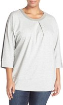 Melissa McCarthy Plus Size Women's Embellished Colorblock Ponte Top