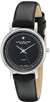 Stuhrling Original Lady Casatorra Women's Quartz Watch with Black Dial Analogue Display and Black Leather Strap 734L.02