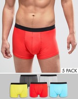 Asos Trunks In Brights 5 Pack