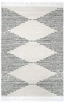 nuLoom Moroccan Diamond Pinstripes Tassel, Off White, 4'x6', Off White, 3'x5'