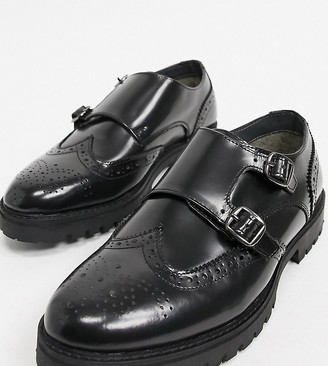 Silver Street wide fit chunky leather double monk brogues in black box