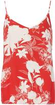 Vila **Vila Red And White Floral Print Camisole Top