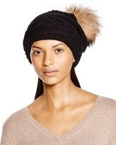 Inverni Braid Knit Beanie with Asiatic Raccoon Fur Pom-Pom
