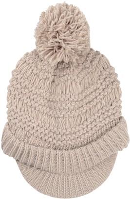 Pia Rossini Ladies Willow Hat Stone Chunky Knit Peak Brim Pom Pom Bobble Winter Accessory