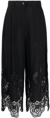 See by Chloe Lace-Trimmed Cropped Trousers