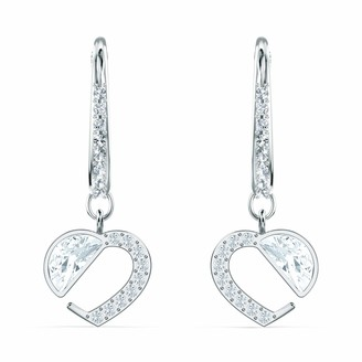 Swarovski Women's Hear Heart Stud Earrings with Crystals Rhodium Plated Metal from the Amazon Exclusive Hear Collection