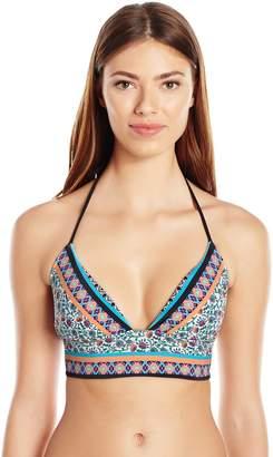 Shoshanna Women's Floral Stripe Lace Back Bikini Top