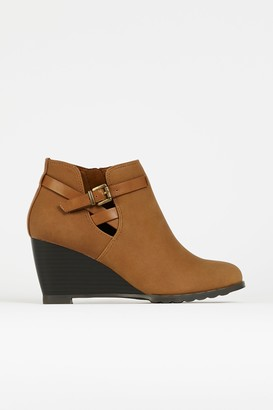 Wallis Tan Buckle Wedge Ankle Boot