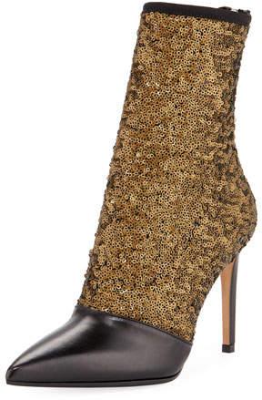 Balmain Fay Glitter Open-Toe Ankle Boot