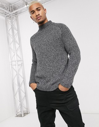 Bershka turtle neck jumper in grey marl