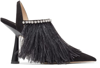 Jimmy Choo AMBRE 100 Black and Silver Suede Slingback Heels with Ostrich Feather and Crystal Trim