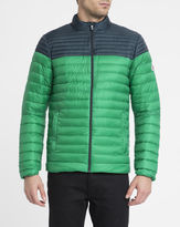 Pyrenex Navy and Green Cyclone Ultra Light Two-Tone Down Jacket
