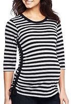 JCPenney Maternity 3/4 Sleeve Striped Tie-Side Ruched Top