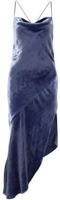 HANEY Hanne Asymmetric Crushed-velvet Midi Dress
