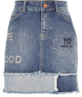 River Island Womens Mid wash slogan patch denim mini skirt