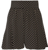 Marc Jacobs Pleated Polka-dot Silk Crepe De Chine Shorts - Black