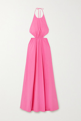 STAUD Apfel Cutout Cotton-blend Poplin Halterneck Maxi Dress - Bright pink
