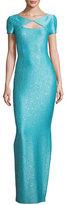 St. John Khari Sequined Keyhole Short-Sleeve Gown, Turquoise