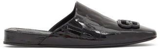 Balenciaga Cosy Bb-plaque Leather Backless Loafers - Black