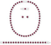 Swarovski Silver-Tone Red Crystal and Pavé Halo Collar Necklace, Bracelet and Stud Earrings Set