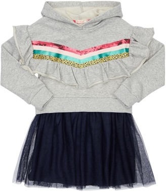 Billieblush Ruffled Cotton Sweat Dress W/ Hood