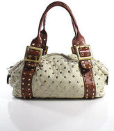 Bed Stu Be+D Ivory Leather Gold Tone Studded Unstructured Small garbo Satchel Bag