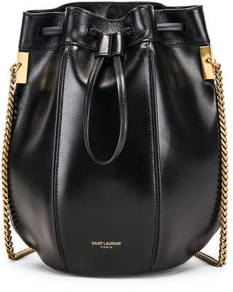 Saint Laurent Small Talitha Chain Bucket Bag in Black | FWRD