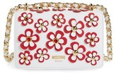 Moschino Flowery Flap Leather Shoulder Bag - White