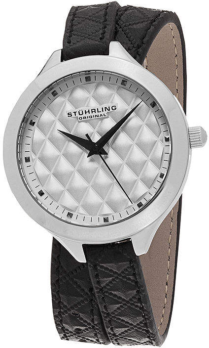 Stuhrling Original Sthrling Original Womens Quilt-Look Dial Black Leather Wrap Watch 7456.01