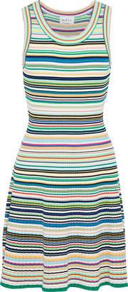 Milly Striped Ribbed-knit Mini Dress