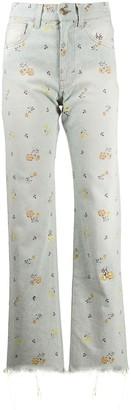 Alanui High-Waisted Floral Jeans