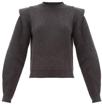 Isabel Marant Bolton Pintucked-shoulder Cashmere-blend Sweater - Womens - Dark Grey