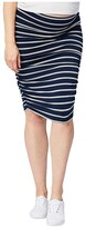 Cake Maternity Maternity Ruched Fitted Skirt (Stripe) Women's Clothing