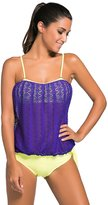 Cfanny Women's Solid Colored Bandeau Blouson Tie Sports Tankini Swimsuit