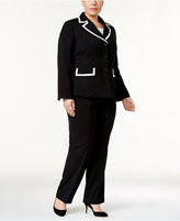 Le Suit Plus Size Jayden Contrast-Trim Three-Button Pantsuit