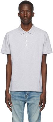 Balmain Grey Embossed Logo Sleeve Polo