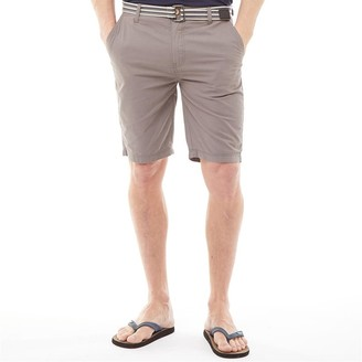 Kangaroo Poo Mens Cotton Shorts With Belt Charcoal