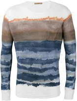 Roberto Collina blurry stripes slim-fit jumper - men - Linen/Flax - 48
