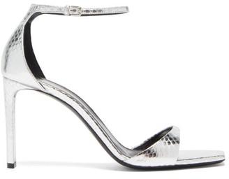 Saint Laurent Bea Metallic Snakeskin-embossed Leather Sandals - Silver