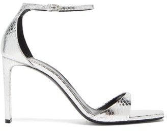 Saint Laurent Bea Metallic Snakeskin-embossed Leather Sandals - Womens - Silver