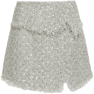 Balmain Sequin-embellished Boucle-tweed Mini Skirt