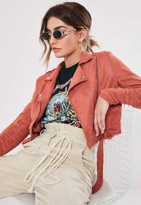 Missguided Rust Cropped Lightweight Faux Suede Biker Jacket