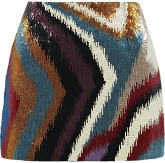 Roberto Cavalli Chameleon Rug Beaded Silk-satin Mini Skirt