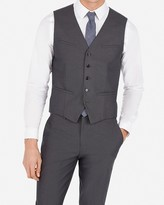 Express Charcoal Gray Cotton Oxford Suit Vest