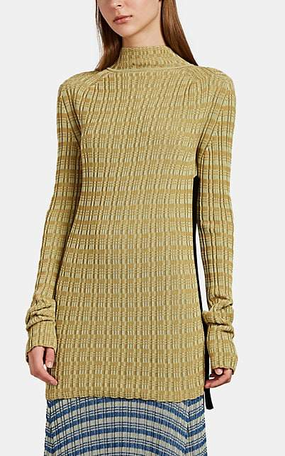 Jil Sander Women's Vanise Rib-Knit Back-Zip Sweater - Green